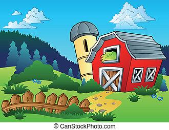 tanya, táj, kerítés