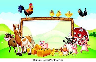 tanya, tervezés, keret, állatok