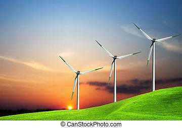 tanya, turbina, napnyugta, felett, felteker