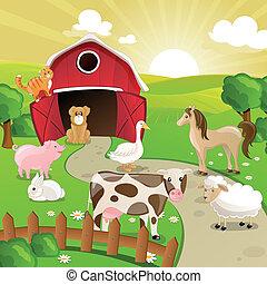 tanya, vektor, állatok