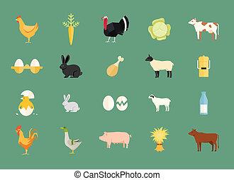 tanya, vektor, állatok, állhatatos, létrehoz, színes