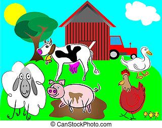 tanya, vektor, állatok, karikatúra
