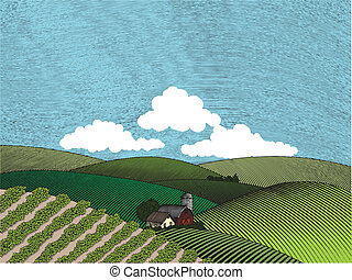 tanya, vidéki táj, szín