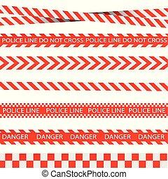 tapes., isolated., signs., veszély, megvonalaz, vektor, figyelmeztetés, figyelmeztet, illustration.