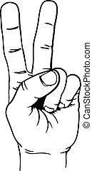 tapogat, kezezés cégtábla, diadal, két, béke