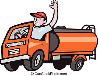 targoncás, sofőr, hullámzás, csereüzlet, 4, tartálykocsi, karikatúra