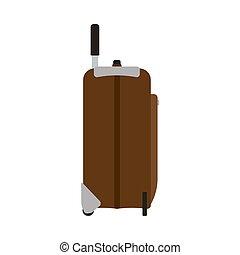 targonca, barna, fogantyú, poggyász, utazás, szünidő, elszigetelt, málhazsák, táska, vektor, white., bőrönd, icon., lejtő, utazás, kilátás
