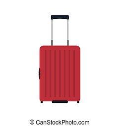 targonca, barna, fogantyú, poggyász, utazás, szünidő, elszigetelt, málhazsák, táska, vektor, white., bőrönd, elülső, icon., utazás, kilátás