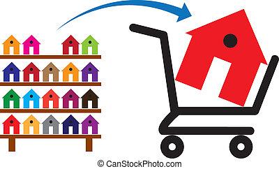 targonca, felhasználható, fogalom, bevásárlás, színes, látszik épület, jelképes, azt, állvány, sale., épület, megvásárol, lakóhely, ingatlan, vagy, vásárlás