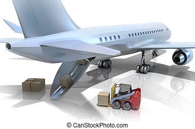 targonca, repülőgép, berakodás