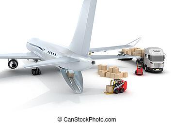 targonca, :, repülőtér, berakodás, repülőgép