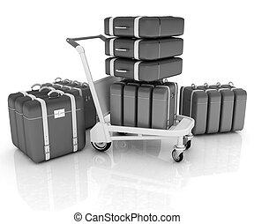 targonca, repülőtér, poggyász