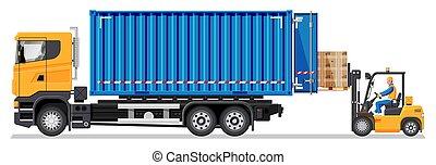 targonca, teherautó, dobozok, berakodás, szalmaágy teherkocsi