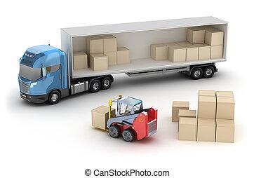 targonca, truck., berakodás