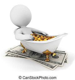tart, emberek, pénz, fürdőkád, fehér, 3