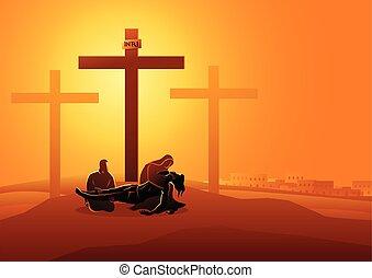 tart, jézus, lefelé, kereszt