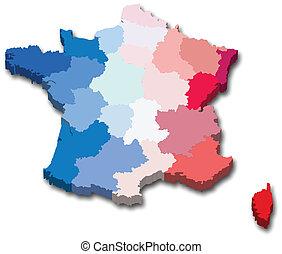 tartomány, térkép, franciaország
