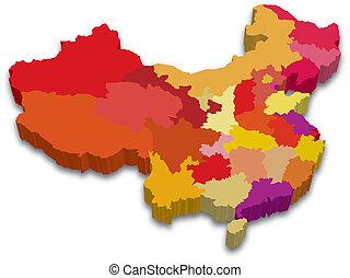 tartomány, térkép, kína, 3