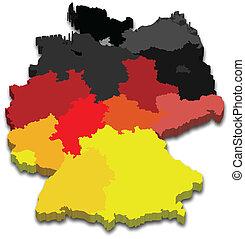 tartomány, térkép, németország