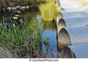 tavacska, csövek, folyó, zöld, lecsapolás