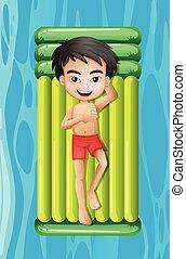 tavacska fiú, úszó, fiatal, bágyasztó