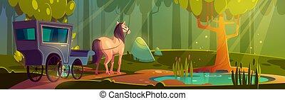 tavacska, ló, bitófák, erdő, húzott, kocsi