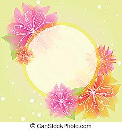 tavasz, elvont, virág, köszönés kártya