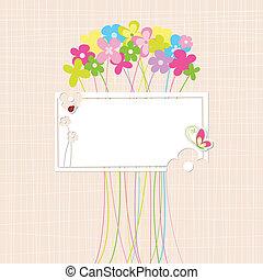 tavasz, virág, színes, kártya, köszönés