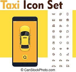 taxi, állhatatos, mozgatható, app, vektor, ikon