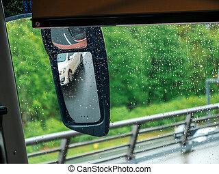 taxi, át, kilátás, esőcseppek, nyersgyapjúszínű bezs, befedett, autó