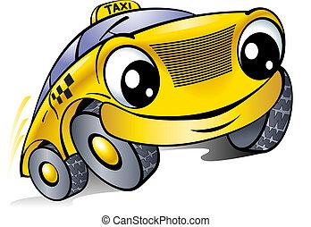 taxi., autó, face., nevető