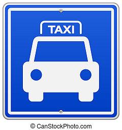 taxi, blue cégtábla