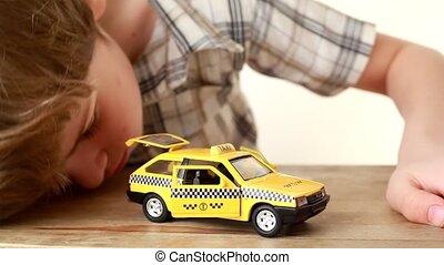 taxi, fiú, játékszer, játék, autó