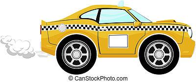taxi, furcsa, karikatúra, autó