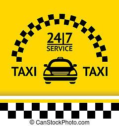 taxi, háttér, autó, jelkép