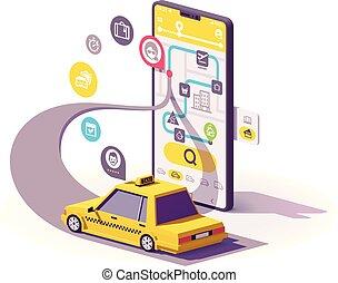 taxi, mozgatható, app, vektor, ábra