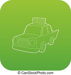 taxi, vektor, zöld, ikon