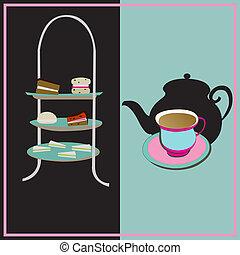 teáscsésze, háttér, szüret, tea-party, vektor, afternoon tea, cake-stand, retro