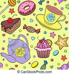 teáskanna, édesség, csésze