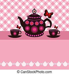 teáskanna, csészék