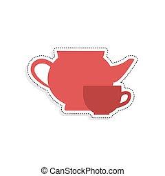 teáskanna, csésze, elszigetelt