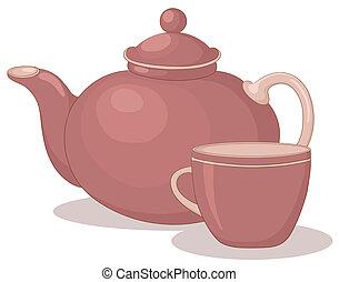teáskanna, csésze