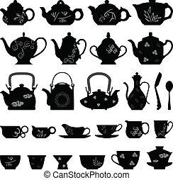 tea csésze, keleti, ázsiai, teáskanna