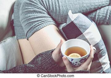 tea, csípős, fogalom, bágyasztó, pamlag