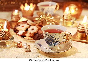 tea, csípős, süti, kellemes