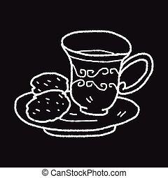 tea, délután, szórakozottan firkálgat