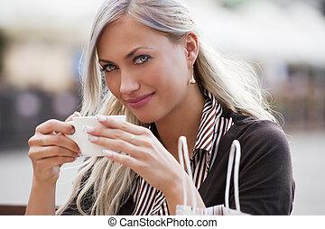 tea, ivás, nő, csésze