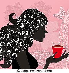tea, leány, virág