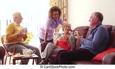 tea, otthon, torta, törődik