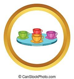 tea, varázs, fonás, vektor, csészék, ikon